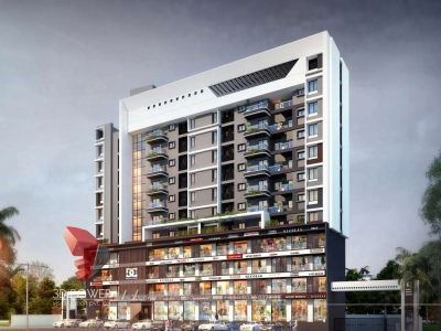 high rise commercial rendering front elevation 3d architectural visualization