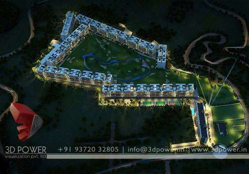3d night view architectural rendering services