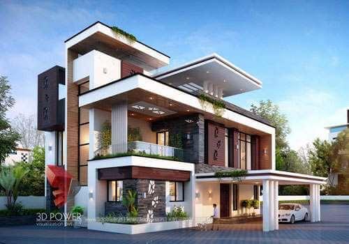 modern 3d villa elevations designs-company